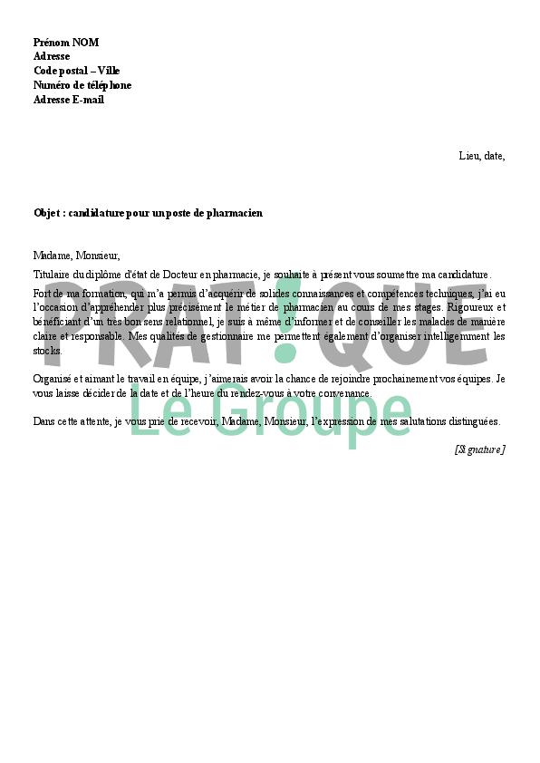 lettre de motivation assistant pharmacie