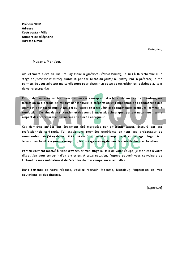 lettre de motivation stage logistique et transport