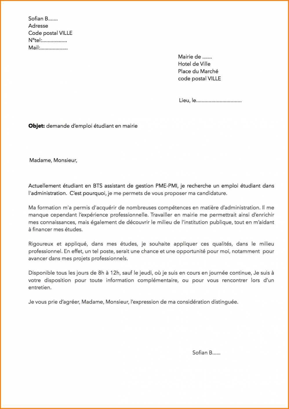 lettre de motivation stage gestion administration
