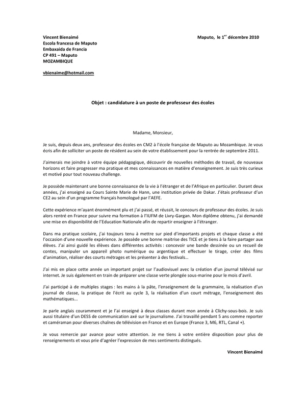 lettre de motivation professeur eps