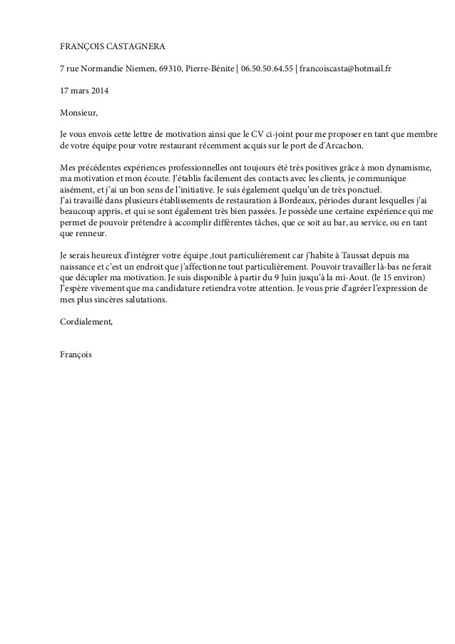 lettre de motivation employ u00e9 de cantine scolaire