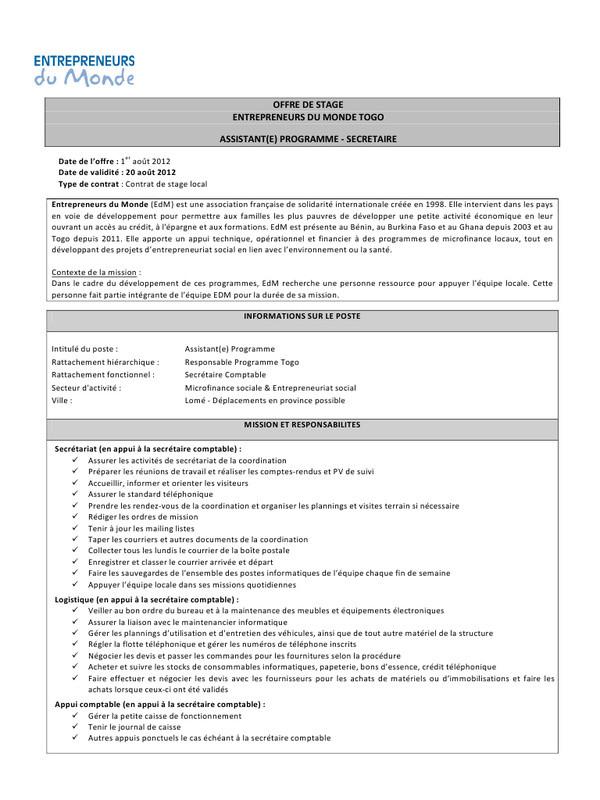 lettre de motivation secr u00e9taire comptable pdf