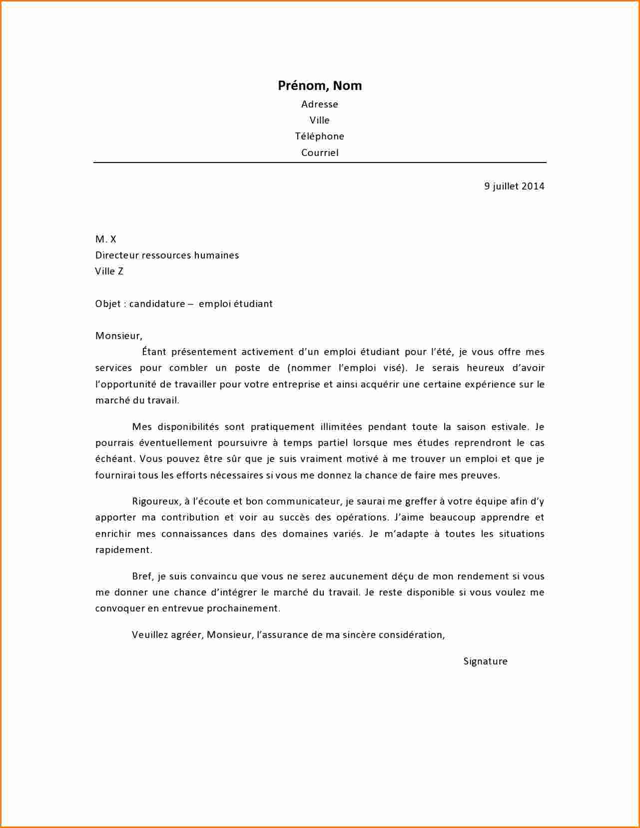 exemple lettre de motivation serveuse sans experience