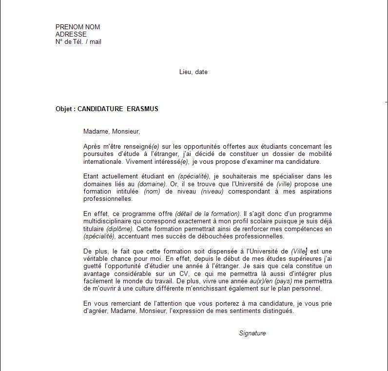 lettre de motivation cv etudiant