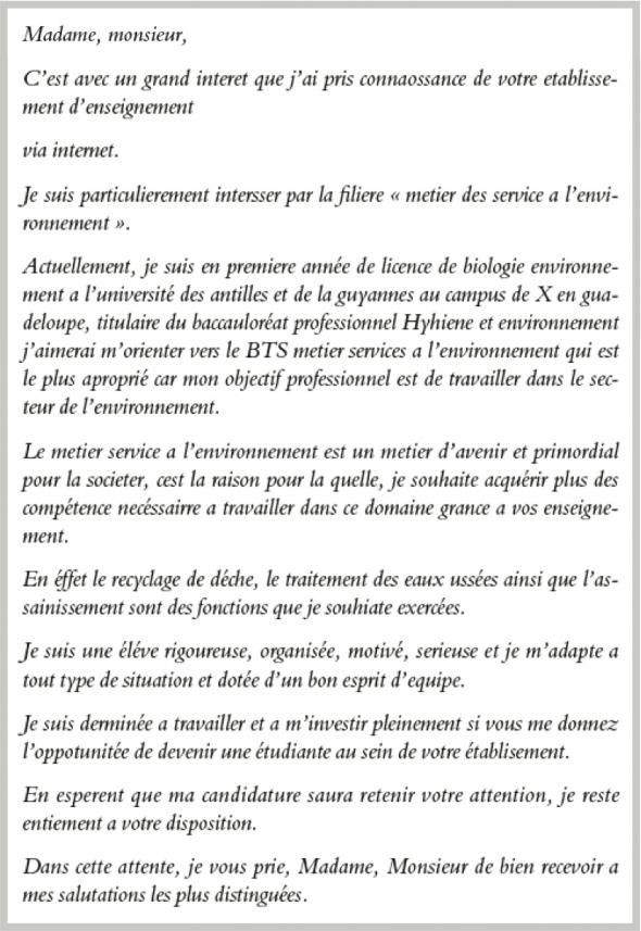 lettre de motivation stage licence biologie
