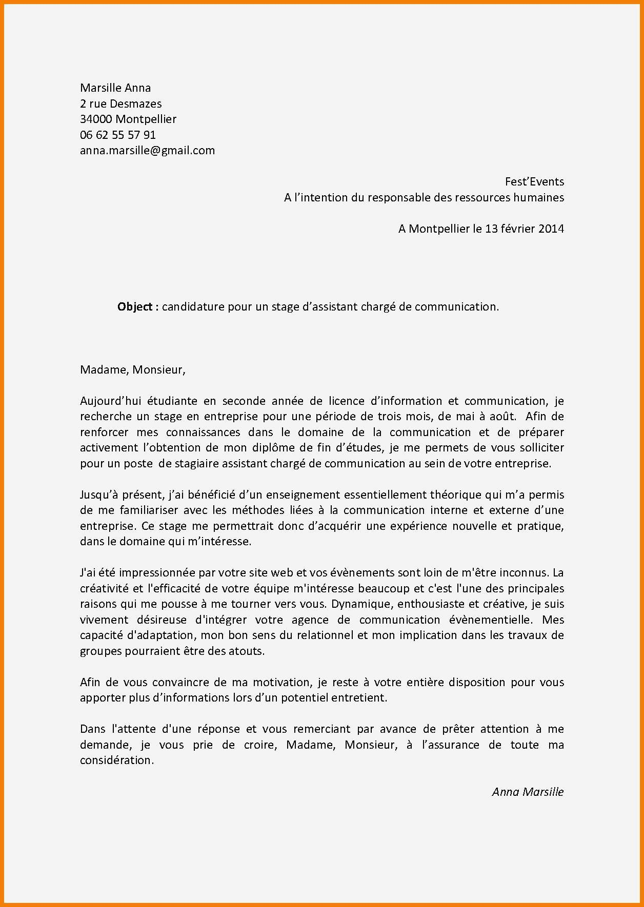 lettre de motivation stage 3eme ann u00e9e licence