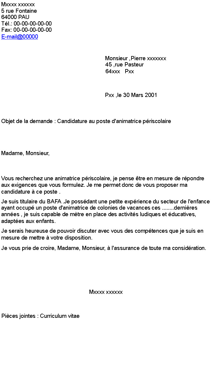 lettre de motivation p u00e9riscolaire sans bafa