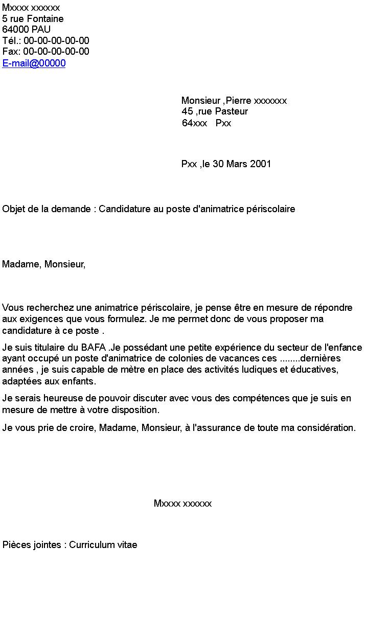 lettre de motivation p u00e9riscolaire sans bafa