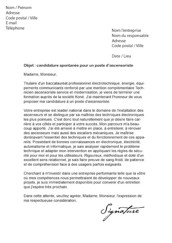 lettre de motivation spontan u00e9e technicien de maintenance