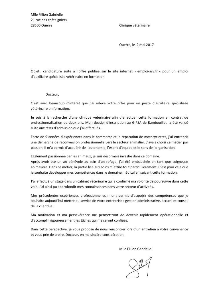 lettre de motivation association animaux