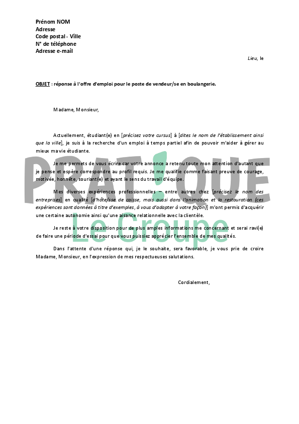 lettre de motivation job d u0026 39  u00e9t u00e9 vendeuse en magasin