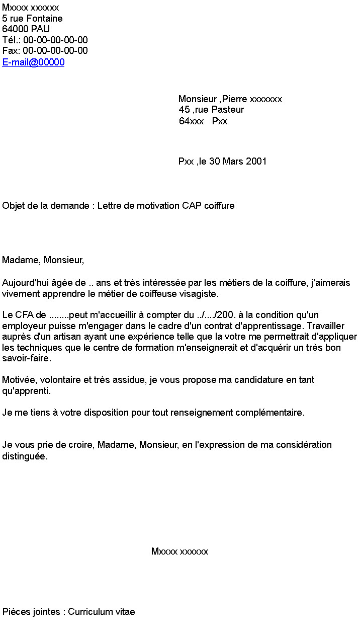 lettre de motivation coiffeuse qualifi u00e9e