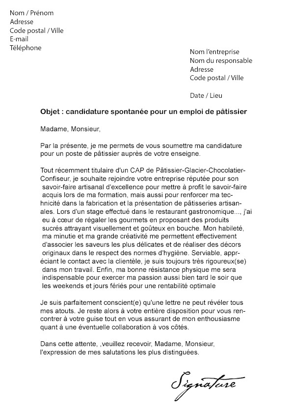 lettre de motivation ouvrier de production alimentaire