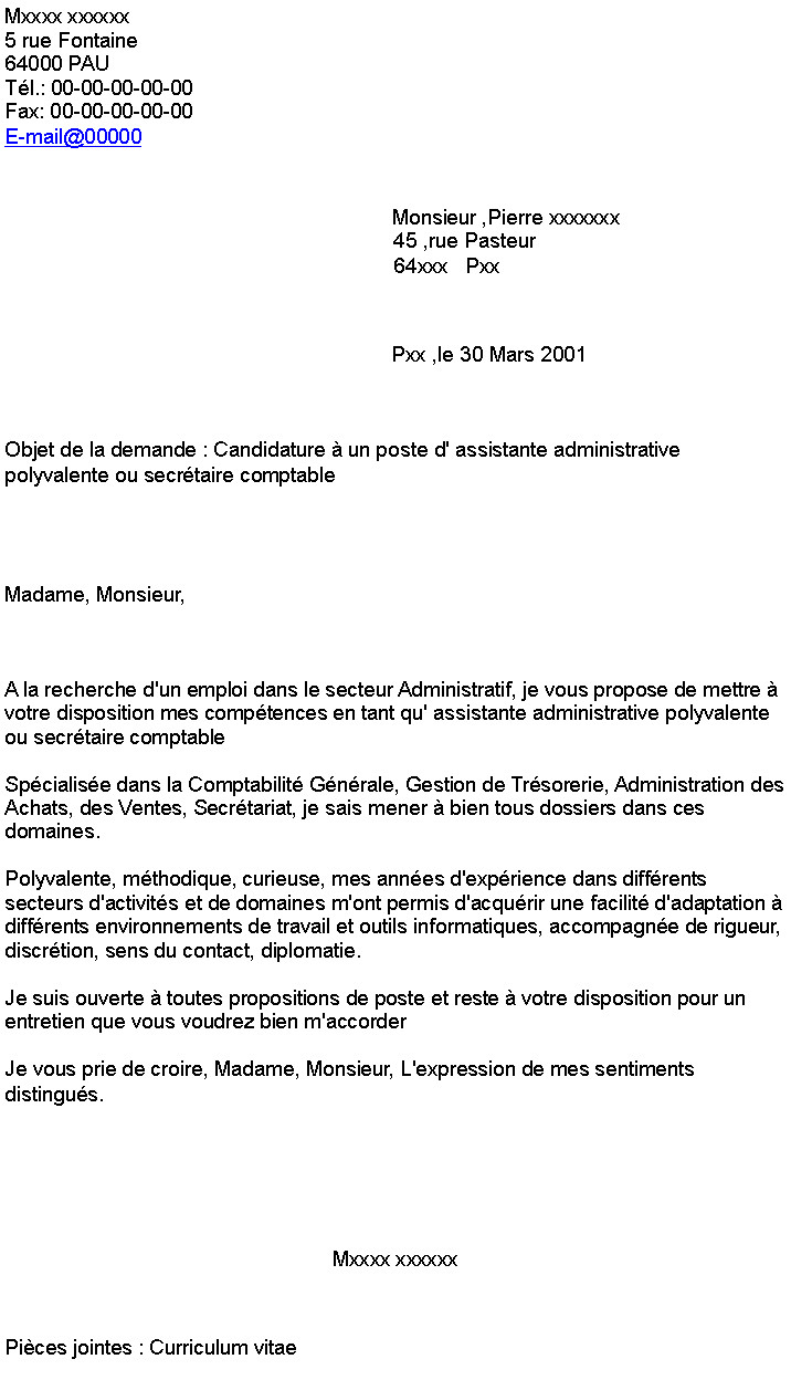 lettre de motivation pour poste assistant administratif