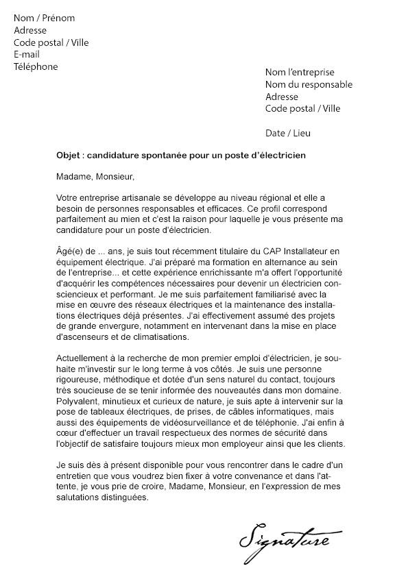lettre de motivation electricien experimente
