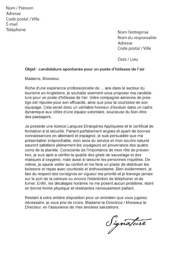 lettre de motivation hotesse de l u0026 39 air sans experience
