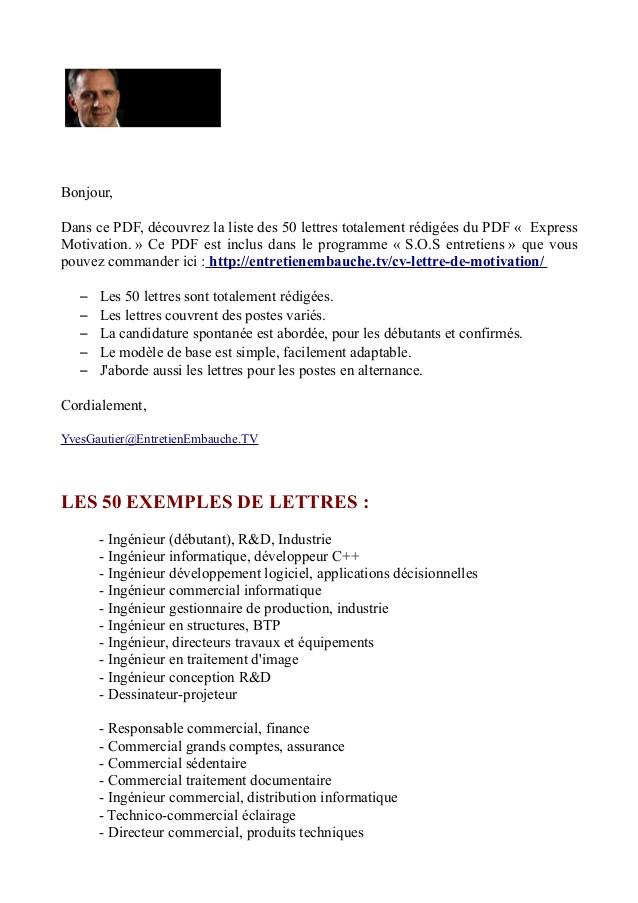 exemple lettre de motivation ing u00e9nieur d u00e9butant