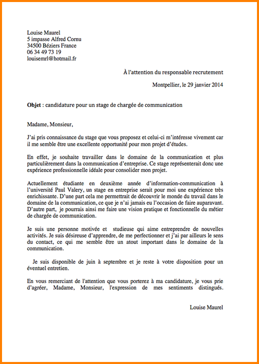 lettre de motivation poste mcf