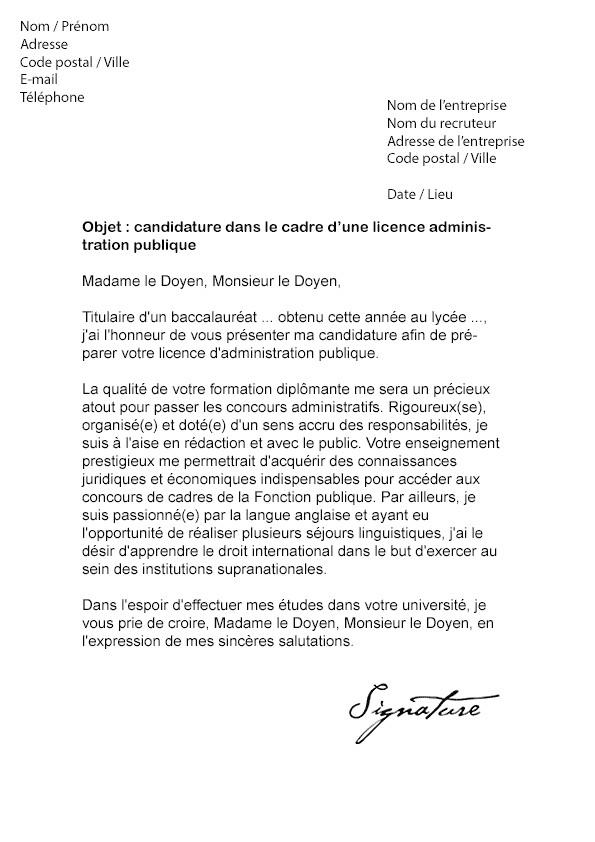 licence de psychologie lettre de motivation