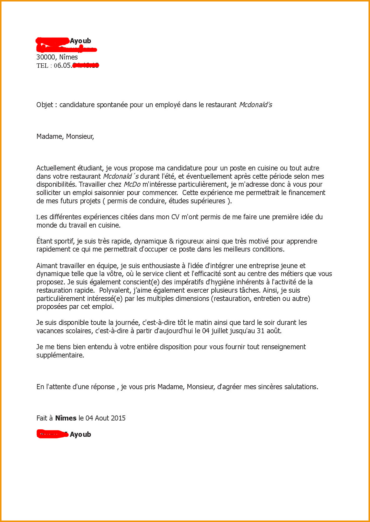 lettre de motivation mcdo cdi