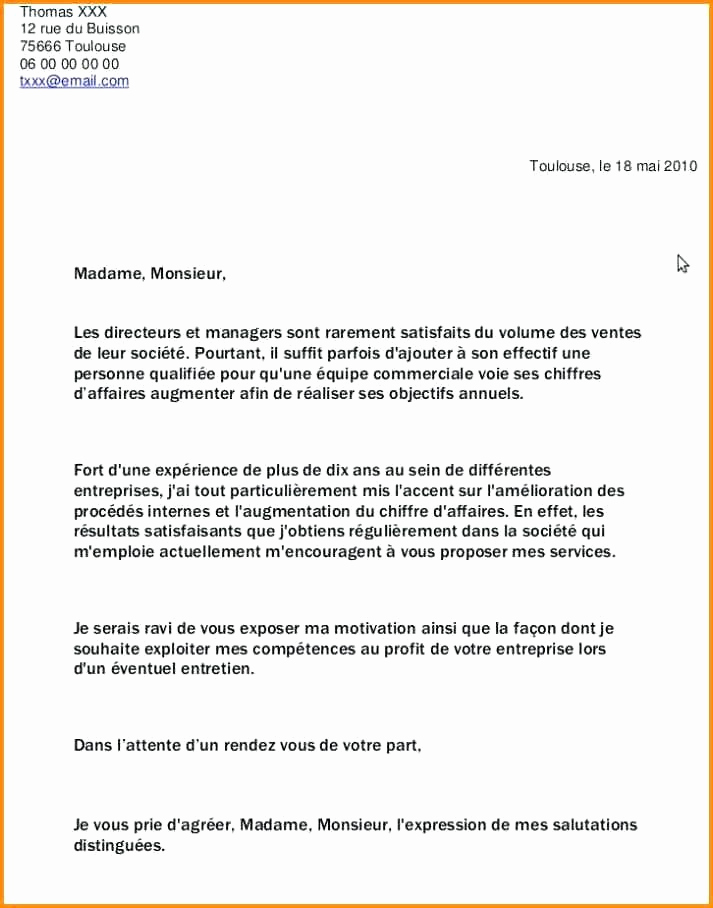 exemple de lettre de motivation pour grande surface