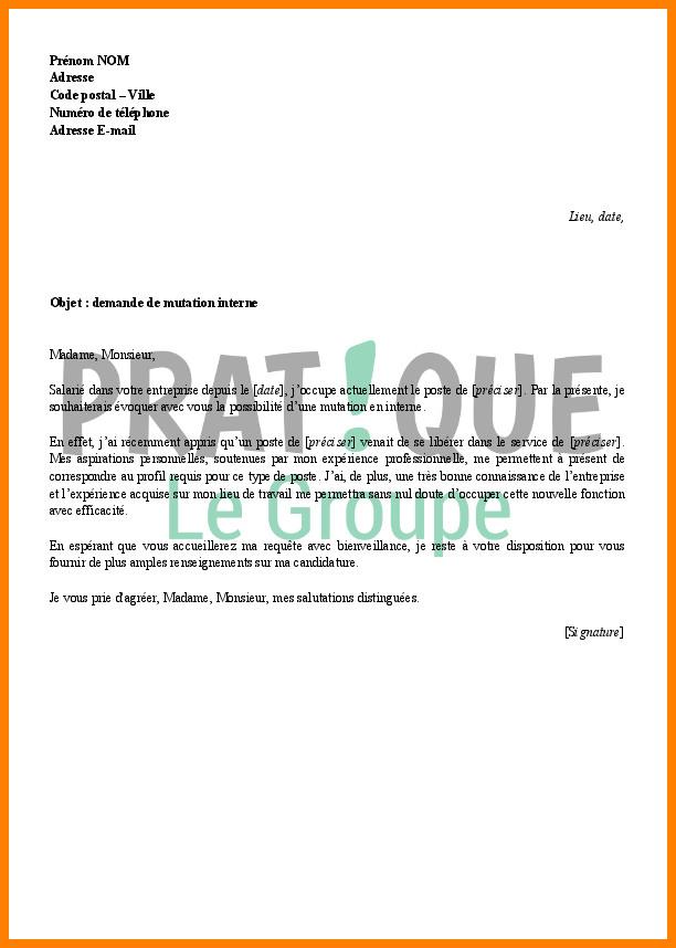 lettre de motivation changement de poste interne aide
