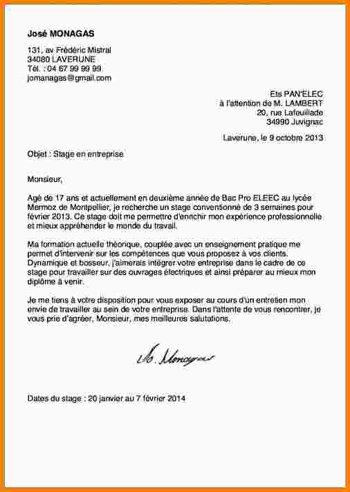exemple de lettre de motivation pour int u00e9grer un lyc u00e9e professionnel