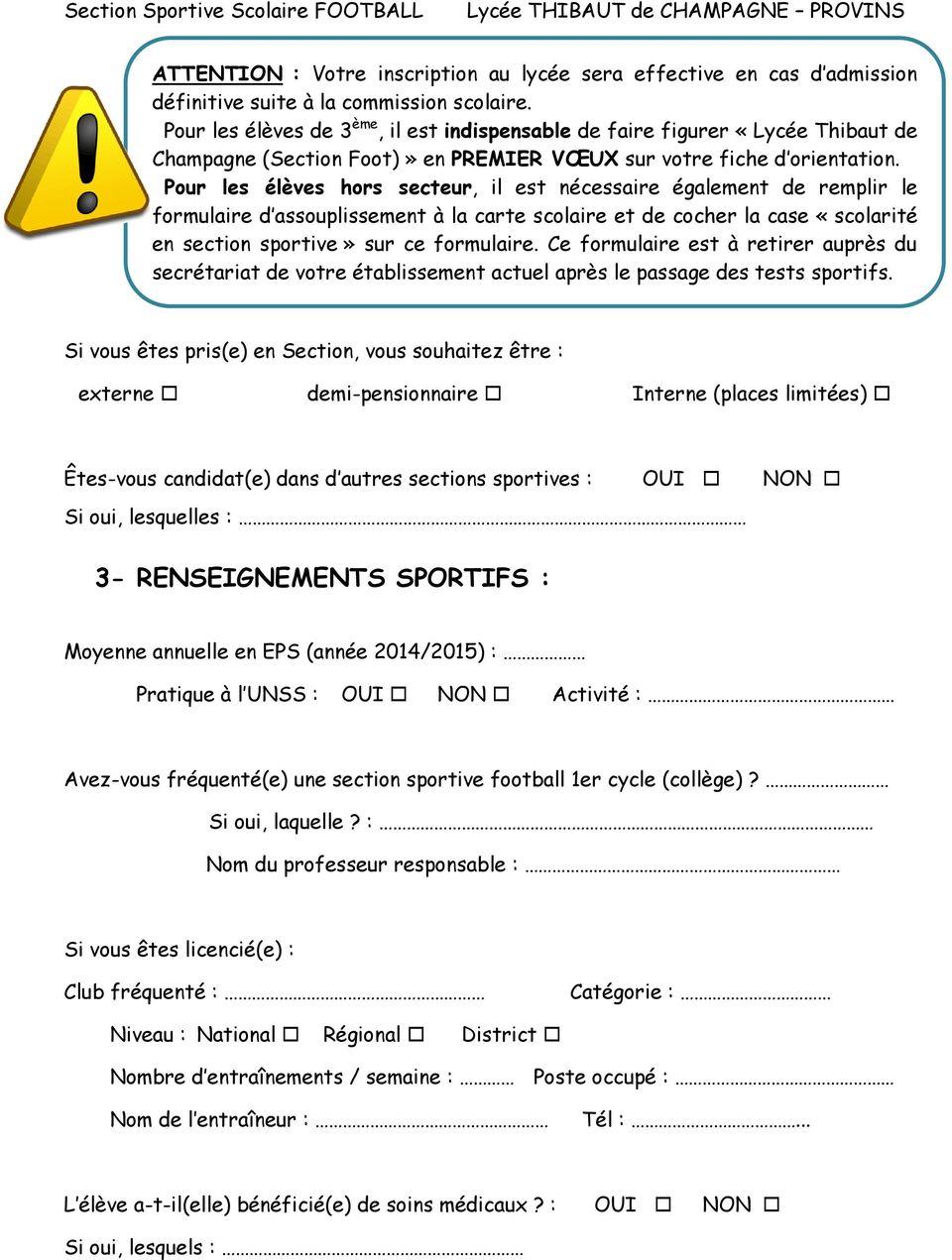 lettre de motivation section sportive coll u00e8ge