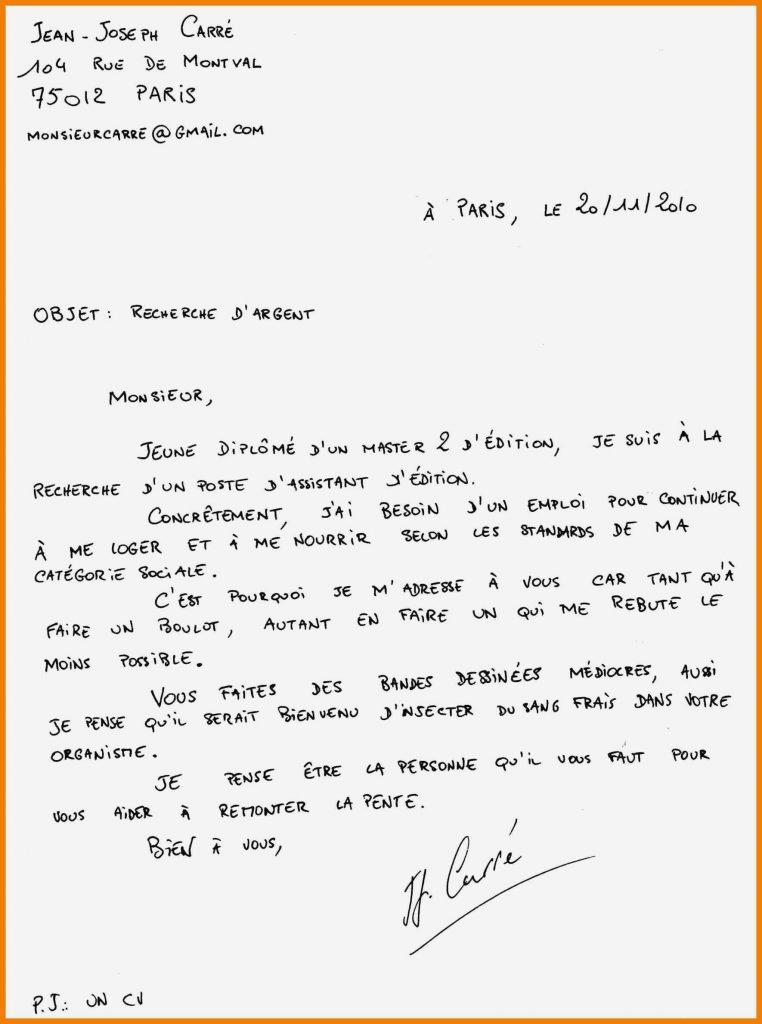 gabarit lettre de motivation manuscrite