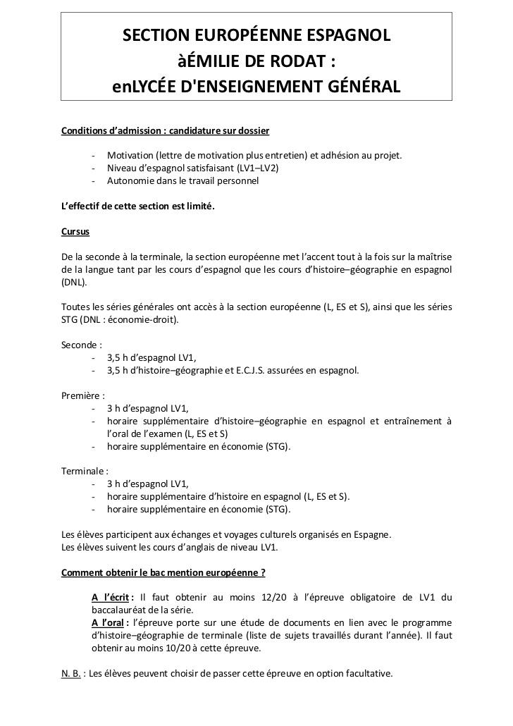 lettre de motivation pour la section europ u00e9enne anglais